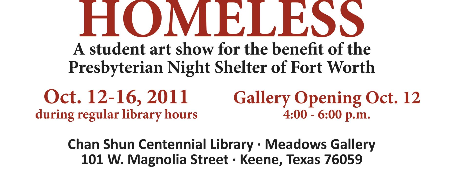Homeless Art Show Scheduled for Oct. 12