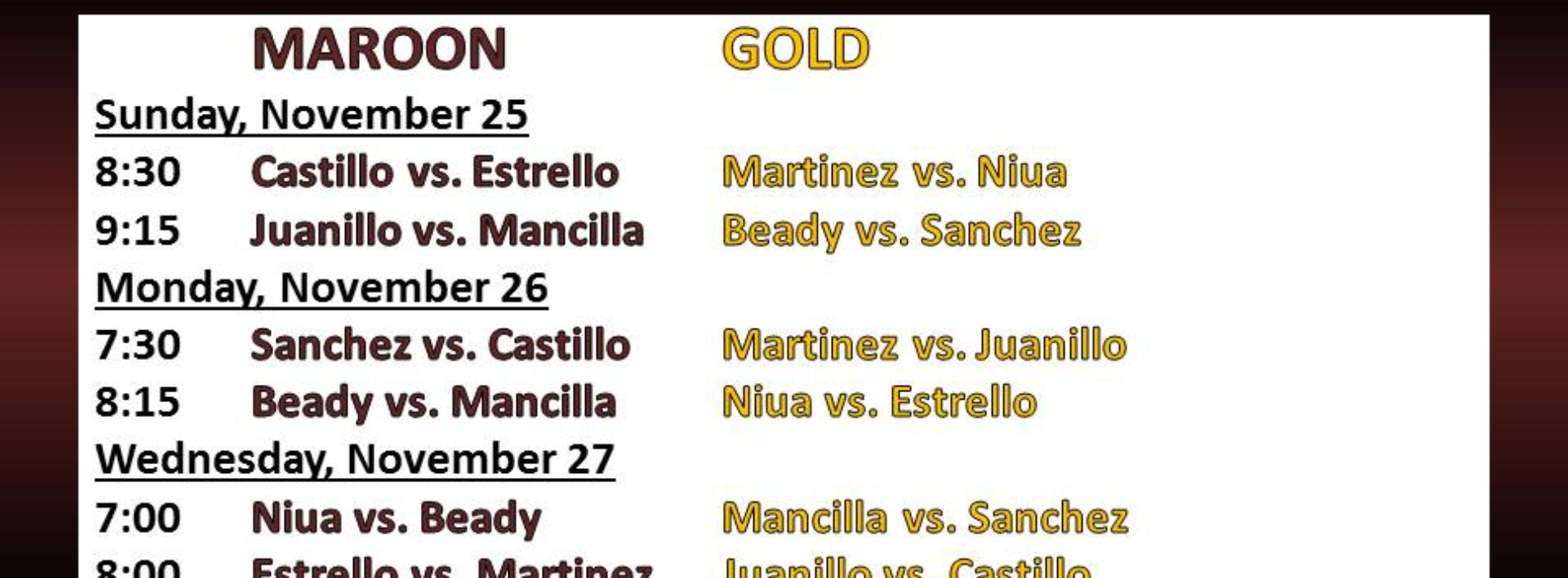Volleyball for Nov. 26-30