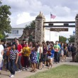 New freshmen file through the Mizpah Gate during the special Mizpah ceremony on Aug. 28.