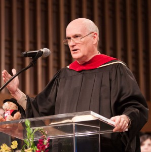 Larry Moore, chair of the University Board of Trustees, was the featured speaker.