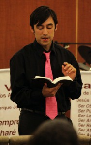 Student pastor Arturo Quintero delivers the message The Body of Christ to his congregation.