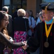 Dr. Ken Shaw greets Raquel Acevedo, freshman education major, after Inaugural Ceremony.