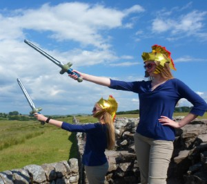 Nicole and Kilory Weis fight off invaders during a trip to Hadrian's wall in Great Britain.