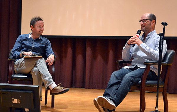 """Actor Tim Corderre (right) shares the Wharton Auditorium stage with """"Tell the World"""" Director Kyle Portbury on Oct. 19. Portbury now serves as associate professor of communication at Southwestern."""