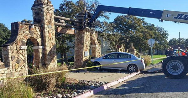 Southwestern's historic Mizpah Gate was seriously damaged this morning when it was struck by an auto. (Photo: B.J. Mondesir)