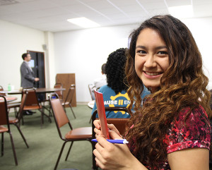 Bianca Chavez smiles during the workshop presentation.